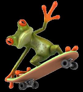 Frog on skateboard
